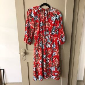 Longsleeve red floral H&M Dress